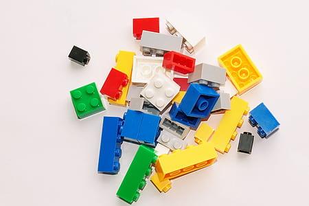 assorted-color of interlocking brick toy