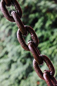 brown rusty chain in macro shot