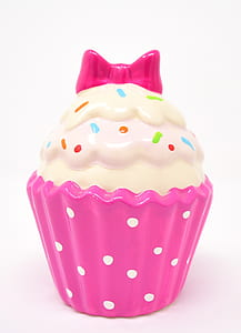 pink and white ceramic cupcake