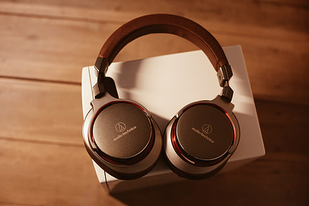 Overhead shot of music headphones