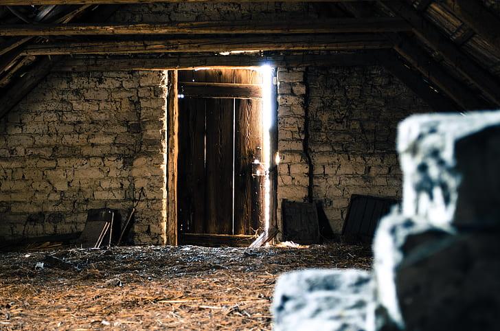 brown wooden door close