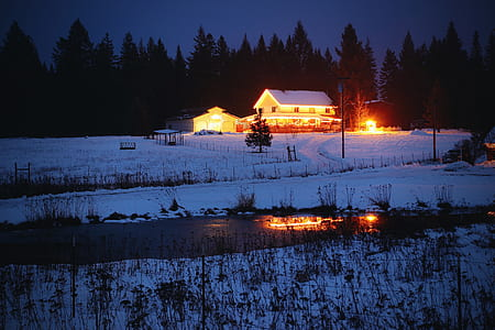 snow covered house under nighttime sky