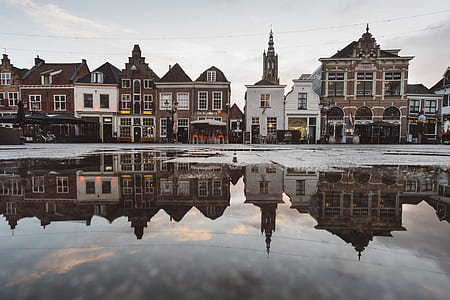 building, reflection, europe, holland, roof, old town