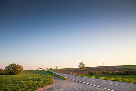 Long Road and Cloudless Sky