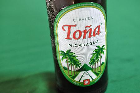 closeup photo of Tona Nicaragua bottle