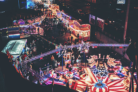 aerial view of carnival during night time