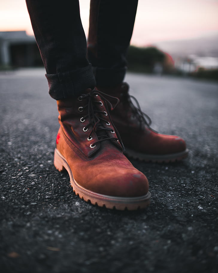 Royalty Free Photo Person Wearing Pair Of Brown Timberland