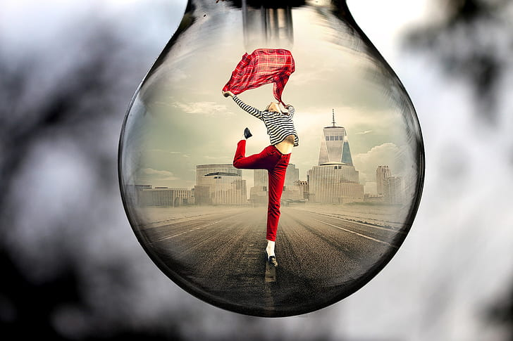 water drop photo of woman wearing red pants