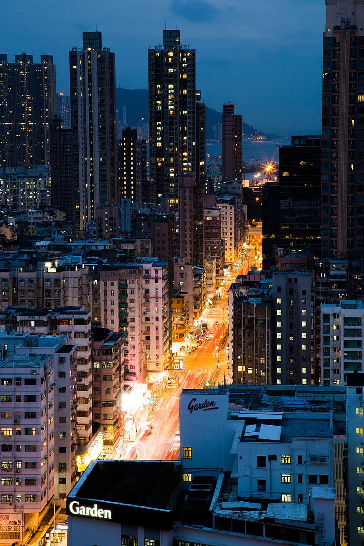 city, urban, skyscraper, tower, lights