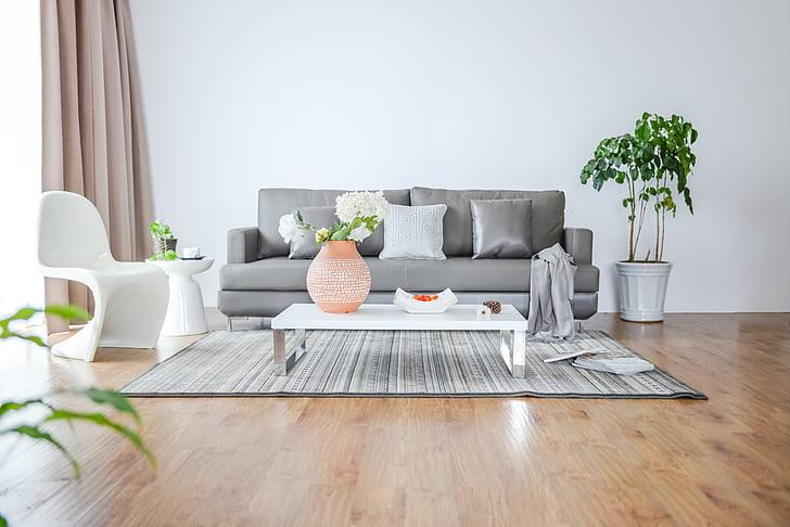 grey sofa on living room