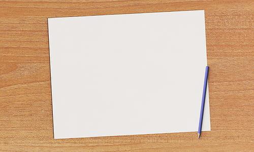 purple pencil on white paper