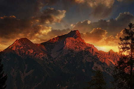 mountain range during sunset