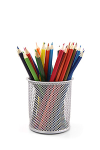 assorted coloring pencils in gray pencil holder