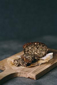 Gluten-free loaf of bread on the wooden desk