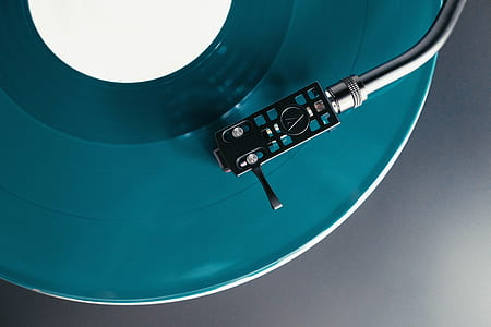 blue-green vinyl player