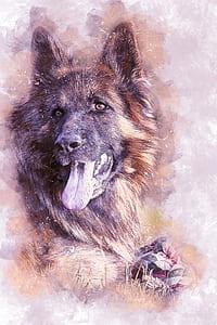 black and tan German shepherd painting