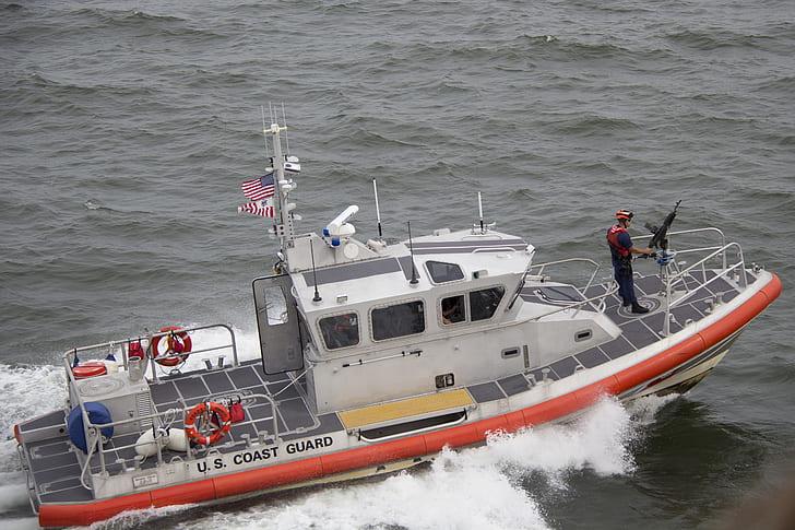White Orange U.S. Coast Guard Boat on the Sea
