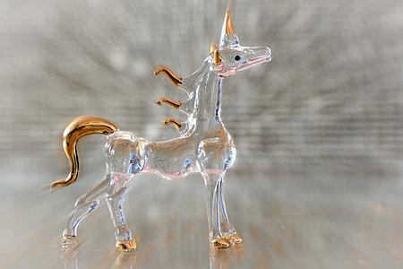 clear glass unicorn figurine