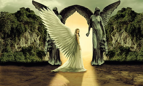 female angel near mountain hills
