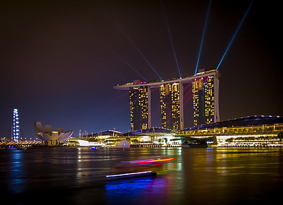 low angle photo of Marina Bay Sands during nightlight