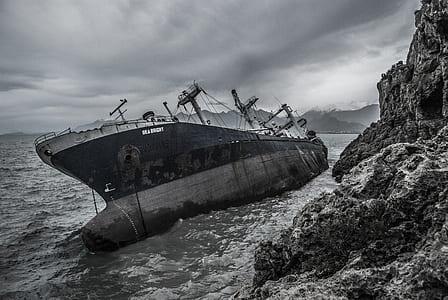 grayscale photo of black ship near shoreline