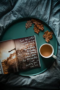 cup of coffee beside book in tray