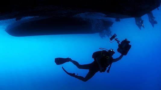 man in diving equipment underwater