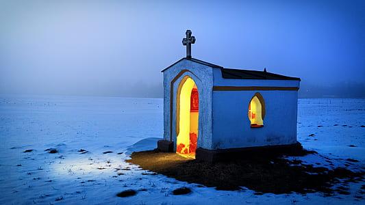 white church under white sky