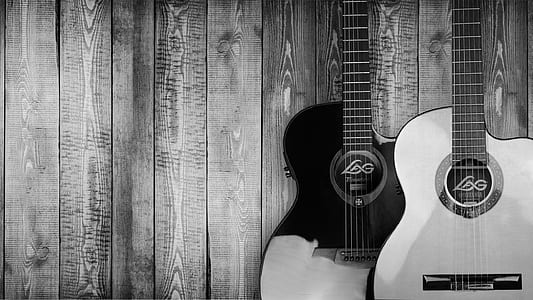grayscale photo of two guitars