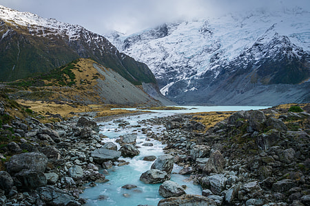 river stream and snowy mountain