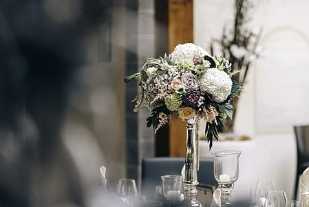 assorted-color petaled flower bouquet centerpiece
