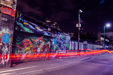 Traffic light trails on the streets of Shoreditch