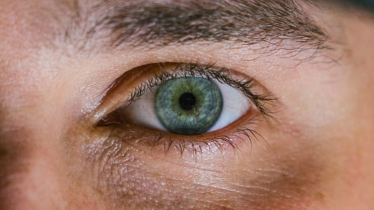 blueish green eye of human