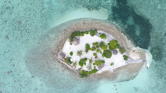 high-angle photography of island