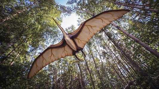 closeup photo of flying dinosaur near trees