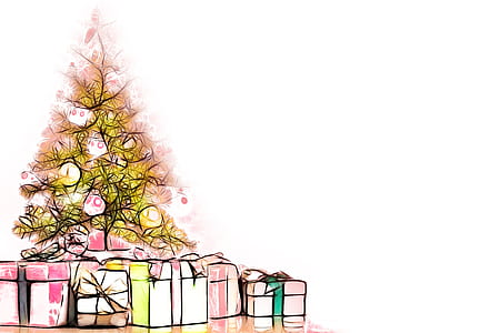 gift boxes under yellow Christmas tree illustration