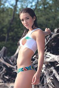 woman's wearing white and blue bikini
