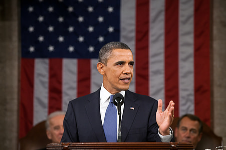 Barrack Obama giving speech