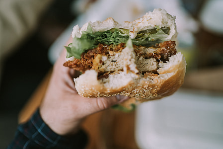 person holding burger with vegetables