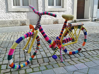 multicolored commuters bicycle