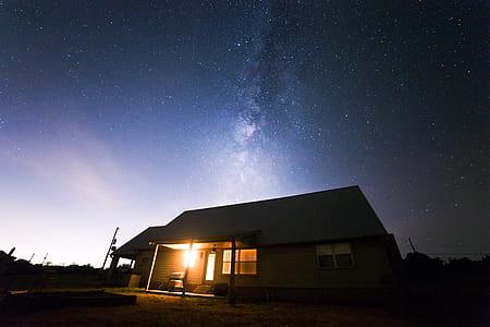 Beige Wooden House Under Starry Night