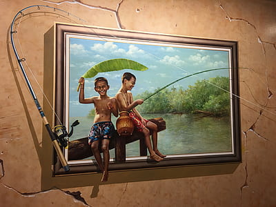 boy and girl holding fishing rod painting