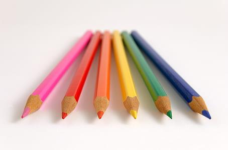 six assorted color pens