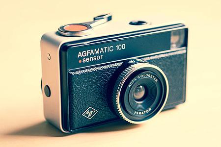 Closeup shot of Agfamatic retro camera