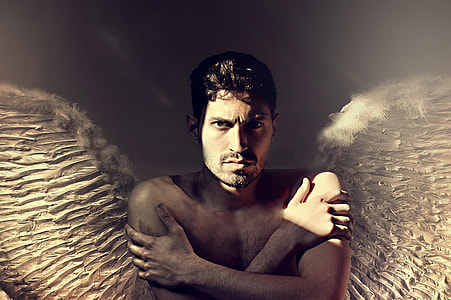 winged topless man