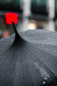 tilt shift photography of a wet black umbrella