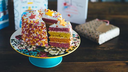 three sliced cake on cake tray