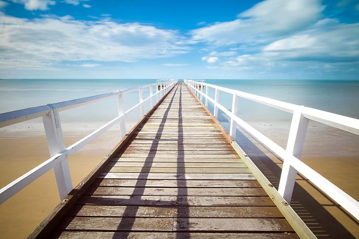 pier, jetty, ocean, sea, water, way