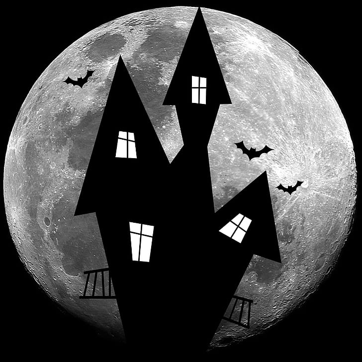 haunted house and moon wallpaper