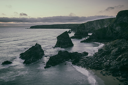 Wide-angle seascape photo taken in low light in Cornwall, England